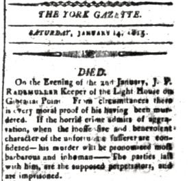 York Gazette Report 14 January 1815
