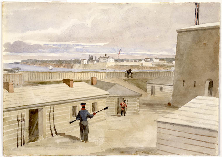 philip-john-bainbrigge-fort-niagara-from-fort-mississauga-upper-canada-1840-library-and-archives-canada-1983-47-118-watercolour-over-pencil-on-wove-paper-17-9-x-24-9-cm