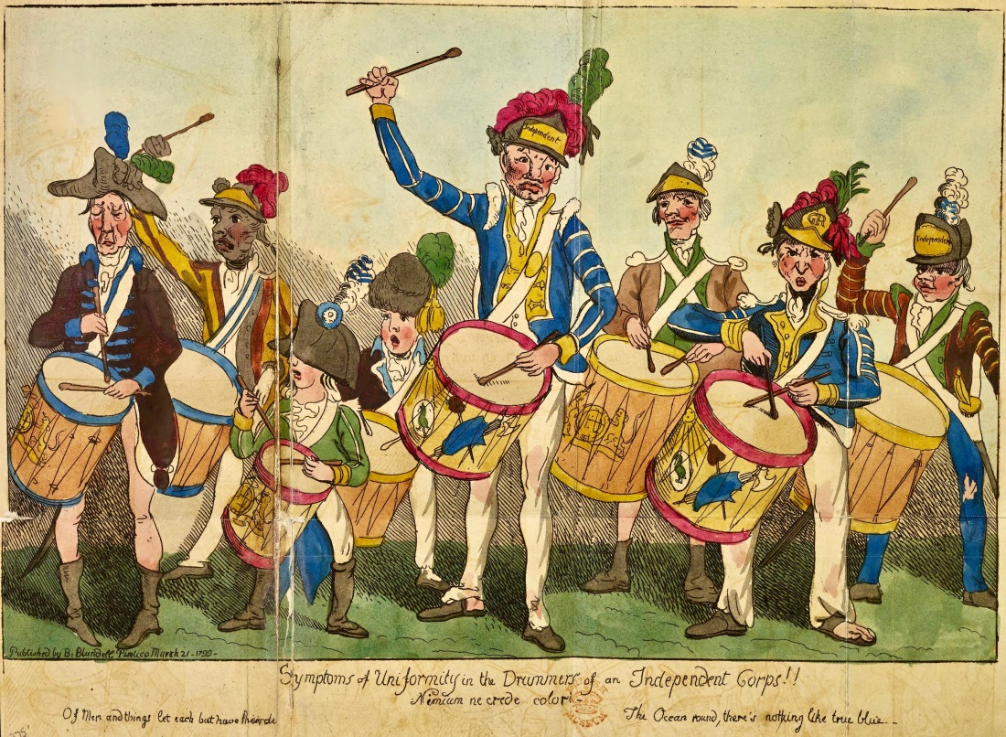 Symptoms of Uniformity in the Drummers of an Independent Corps from B. Blundell, The Rise, Progress, and Proceedings, of a Corps of Volunteers (London, 1799), British Library 2.jpg