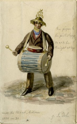 """One-man band playing bass drum with tambourine, pan pipes and hat a modified Jingling Johnny """"near the Strand 1820-1830"""" by George Scharf (British Museum)"""
