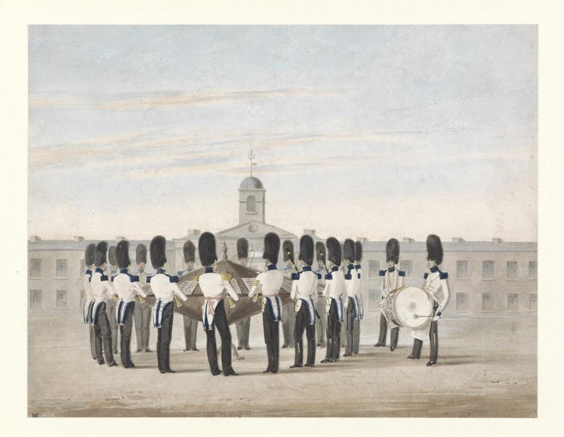 Michael Angelo Hayes, Band of the 23rd Fusiliers, 1838 (Yale Centre for Brit Art), poss at Kilkenny